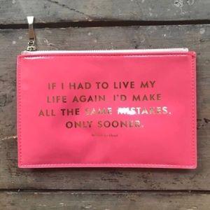 Pink Kate Spade 'Mistakes' Zipper Pencil Case